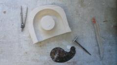 Gipsform von der Form aus Knete